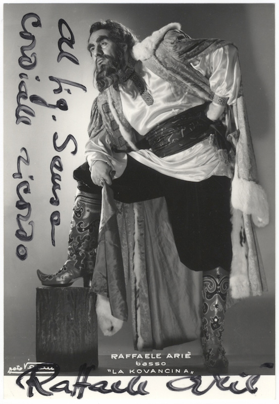 Role portrait as Ivan Khovansky in Khovanshchina by Musorgsky signed in full and inscribed. Raffaele ARIÉ.