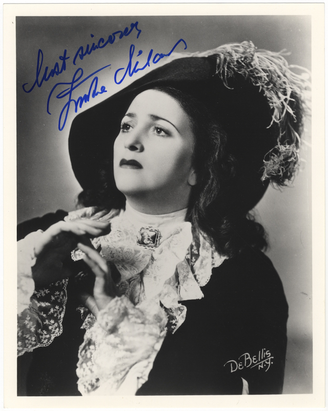 "Bust-length role portrait photograph of the soprano as Leonora in Verdi's La Forza del Destino, signed in full and inscribed ""Most sincerely..."" Zinka MILANOV."