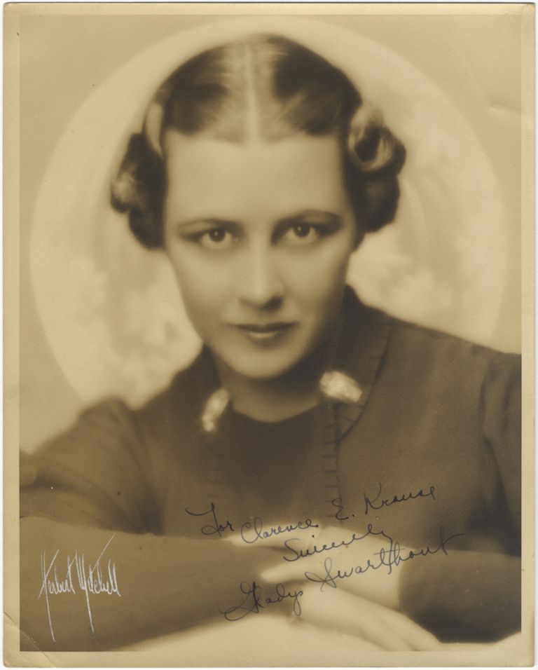 Bust-length portrait photograph, signed in full and inscribed to Clarence E. Krause. Gladys SWARTHOUT.