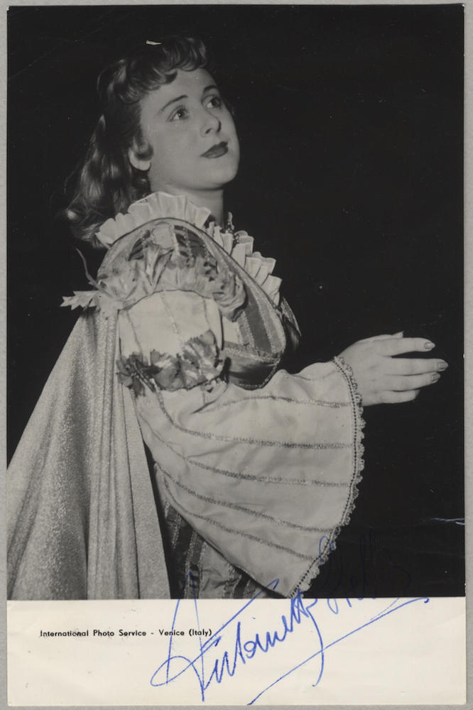 Waist-length role portrait photograph in costume in an unknown role, signed in full. Antonietta born 1929 STELLA.