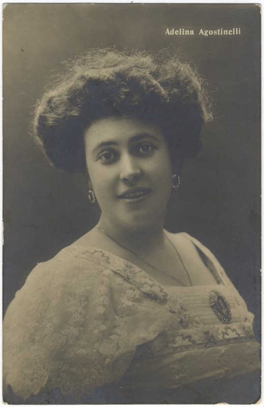 Postcard photograph signed in full and inscribed in red ink on verso. Adelina AGOSTINELLI.