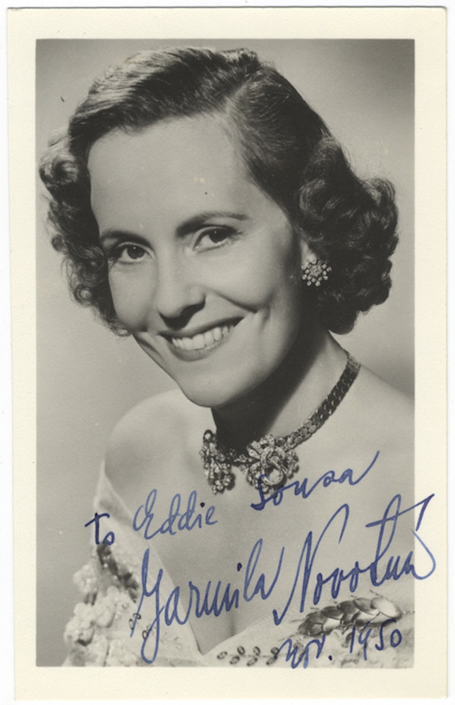Bust-length postcard photograph signed in full, dated November, 1950, and inscribed to Eddie Sousa. Jarmila NOVOTNÁ.
