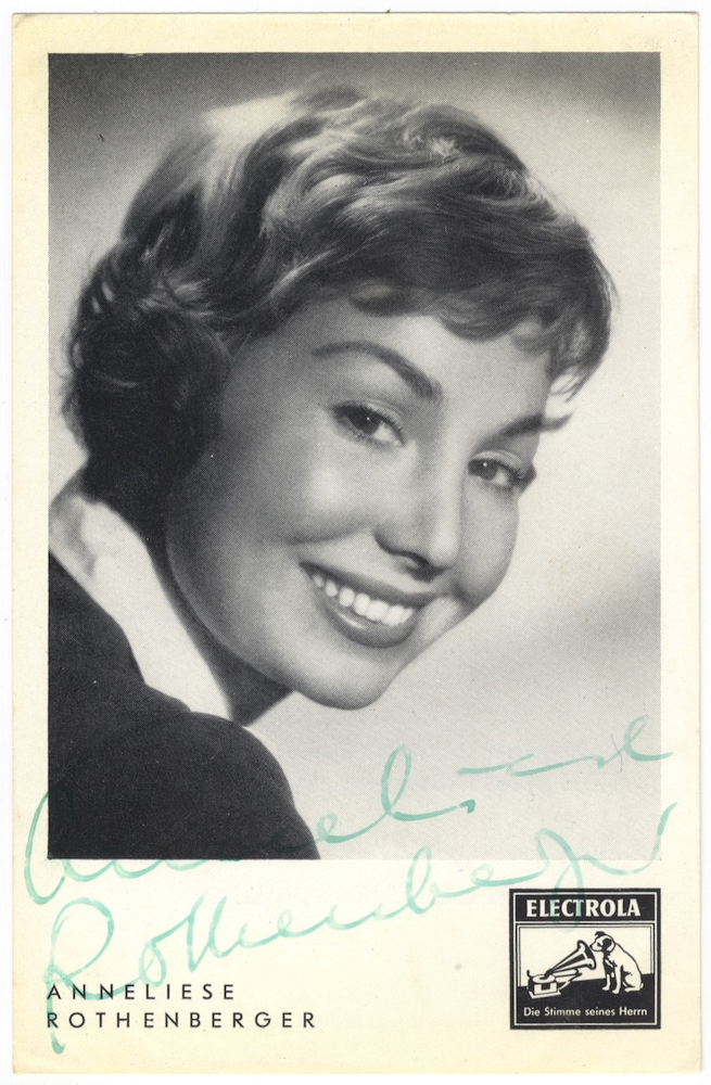 Bust-length photograph signed in full and dated Spring, 1960 on verso. Anneliese ROTHENBERGER.