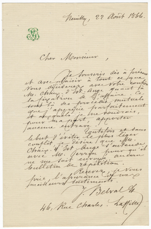 "Autograph letter signed ""J. Belval"" to an unidentified correspondent. Jules-Bernard BELVAL."