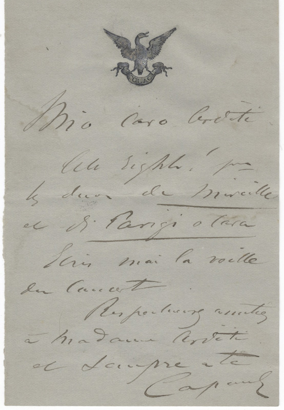 "Autograph letter signed ""Capoul"" to composer, conductor, and violinist [Luigi] Arditi. Victor CAPOUL."
