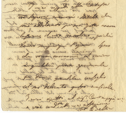 """Autograph letter signed """"Bellini"""" to Count Rodolphe Apponyi. Vincenzo BELLINI."""