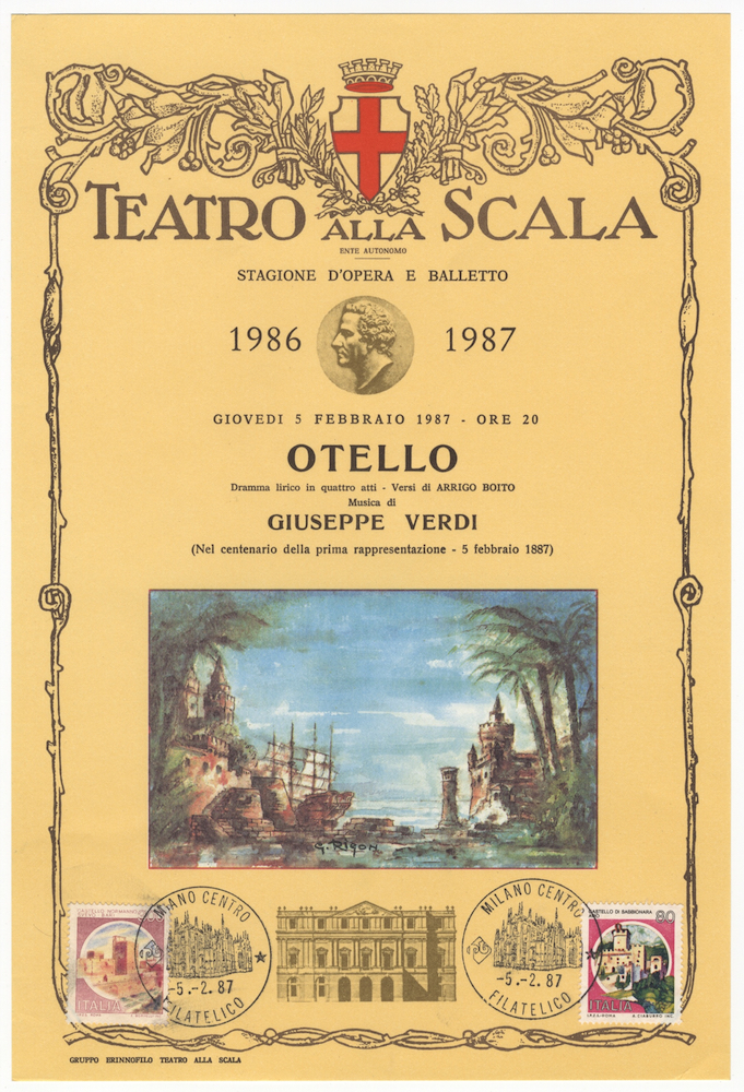 Two broadsides in commemoration of the 100th anniversary of the first performance of Verdi's Otello at the Teatro alla Scala, each ca. 265 x 180 mm. Giuseppe VERDI.