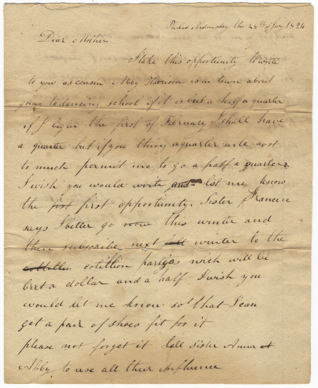 "Autograph letter signed ""B[enjamin] P Howell"" to Mrs. Anna Howell, Fancy Hill [Berks County, Pennsylvania]. DANCE - 19th Century - Social."
