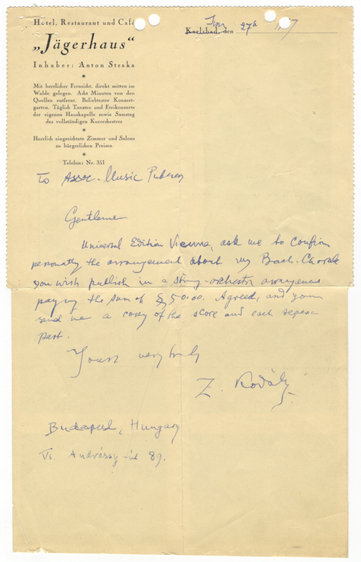 """Autograph letter signed """"Z. Kodály"""" to Associated Music Publishers in New York. Zoltán KODÁLY."""