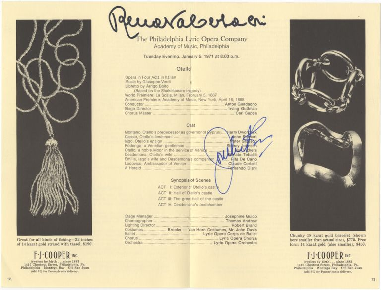 Program excerpt from a Philadelphia Lyric Opera Company program for a performance of Verdi's Otello, Academy of Music, Philadelphia, January 5, 1971. Signed in full by both Tebaldi and Canadian tenor Jon Vickers. Renata TEBALDI.