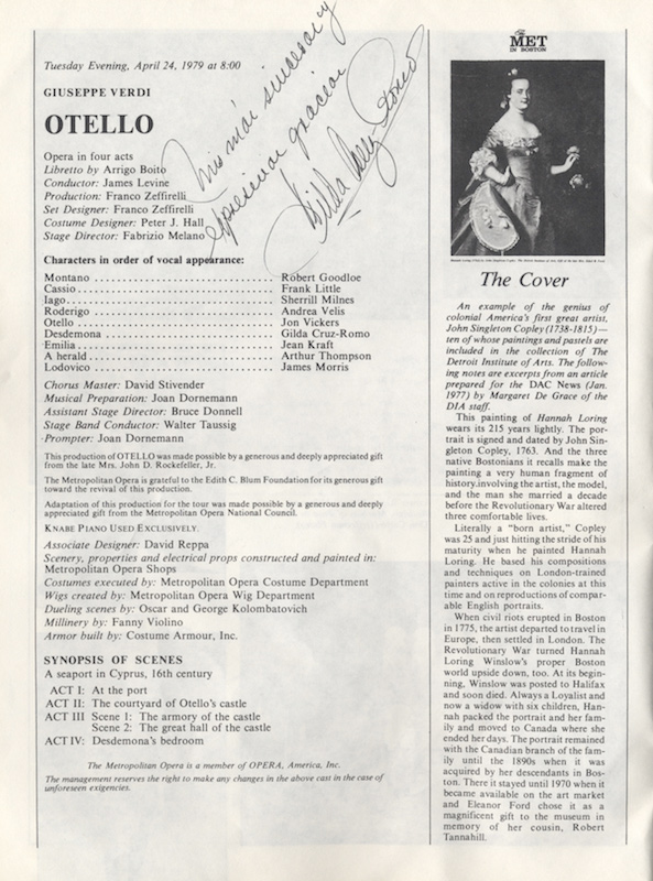 Program for Verdi's Otello at The Met in Boston, Hynes Civic Auditorium, Boston, April 24, 1979. Signed and inscribed by the noted Mexican soprano. Gilda born 1940 CRUZ-ROMO.