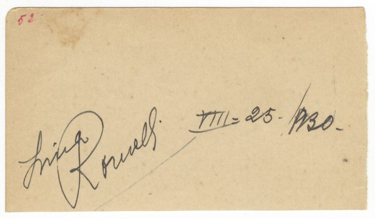 Autograph signature dated August 25, 1930. Lina ROMELLI.