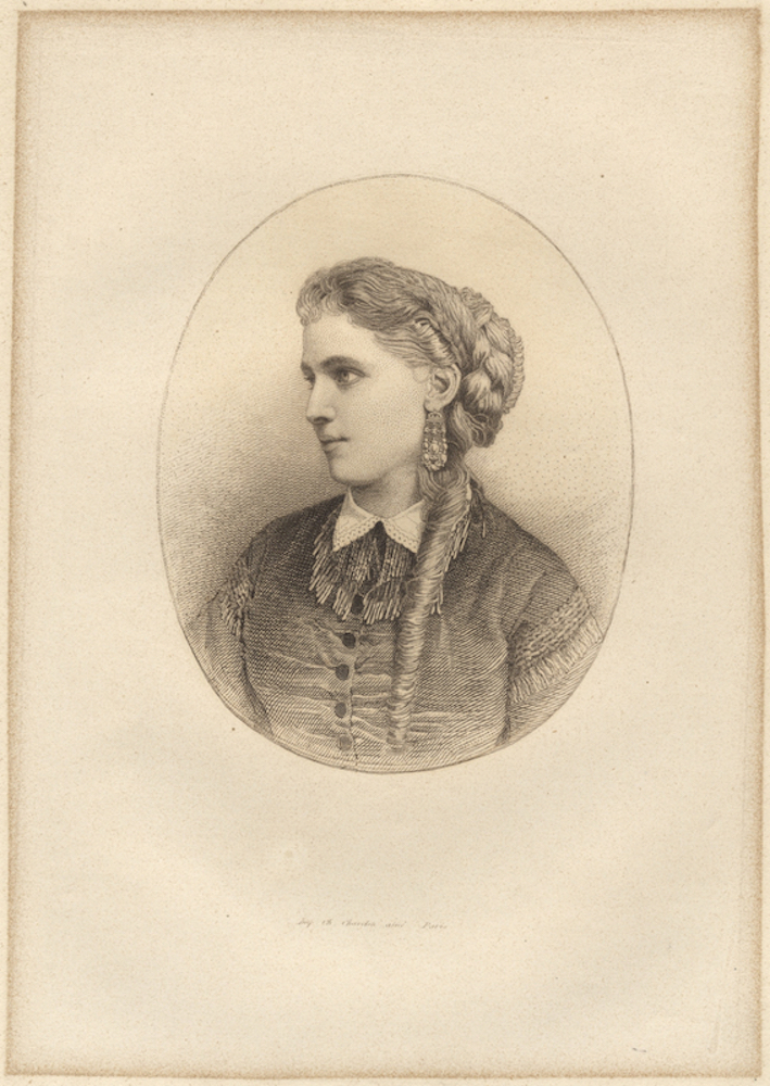 Bust-length portrait engraving of the noted Swedish soprano. Christine NILSSON.
