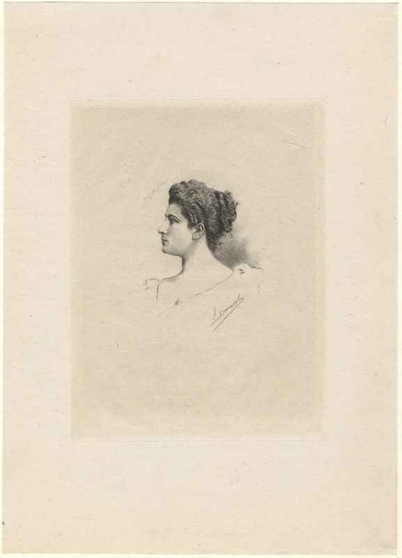 Fine head-and-shoulders portrait etching of the Swiss soprano by F[ernand] Desmoulin. Lucienne BRÉVAL.