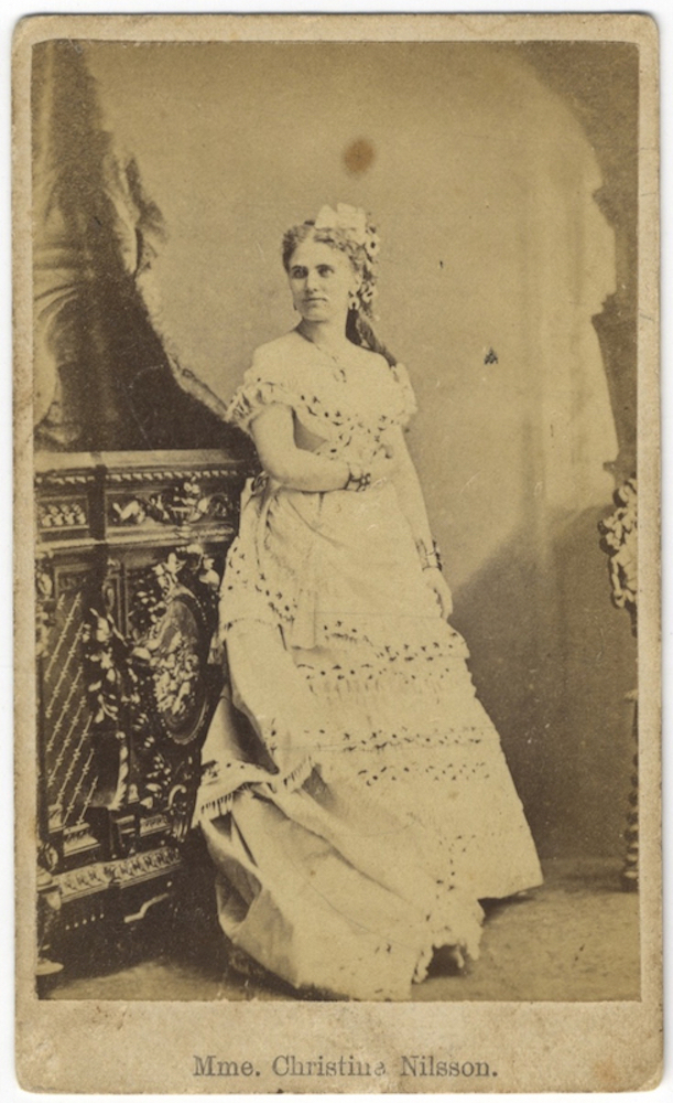 Full-lengh carte-de-visite photograph of the noted Swedish soprano. Christine NILSSON.