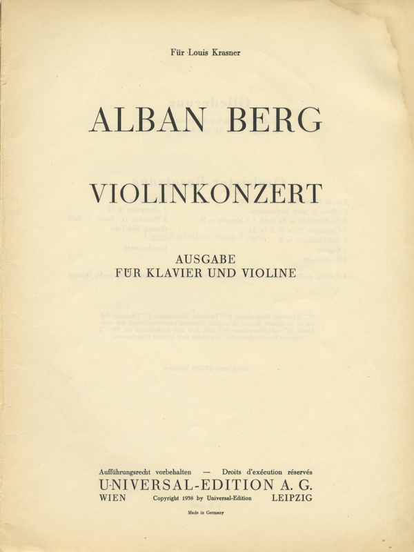 Violinkonzert Ausgabe für Klavier und Violine. [Piano reduction and solo violin part]. Alban BERG.