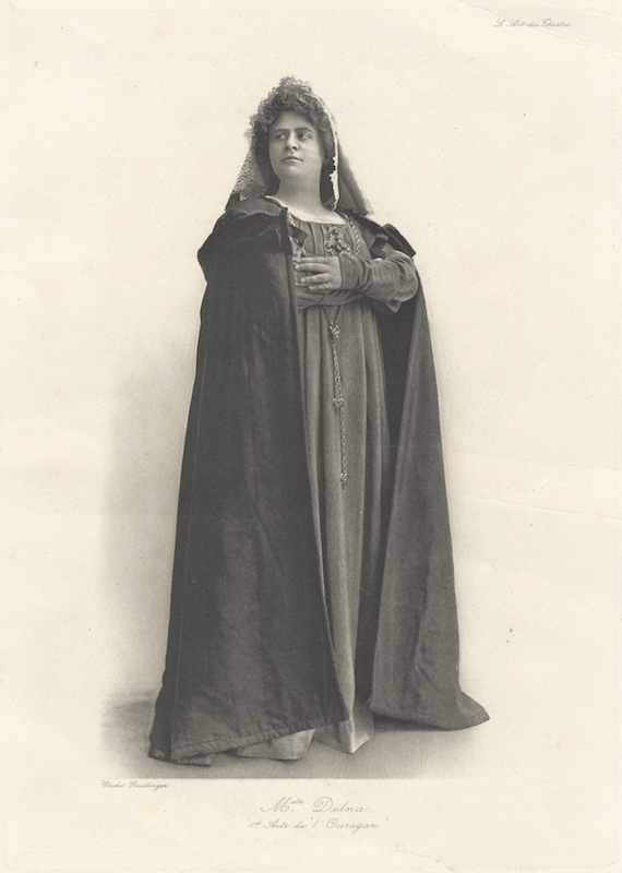 Full-length photoprint of the contralto in Act I of Alfred Bruneau's opera L'Ouragan. Marie DELNA.