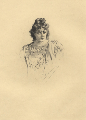 Half-length reproduction of an original etching by Fernand Desmoulin (1853-1914) of the noted American soprano in costume as Esclarmonde. Sybil SANDERSON.