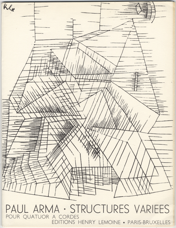 Structures variees pour Quatuor a cordes. Dessin de la couverture de Paul Klee. [Set of parts]. Paul ARMA.