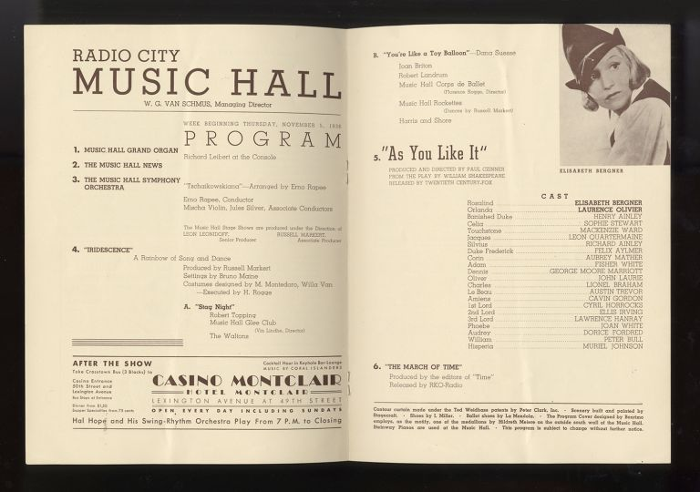 Radio City Music Hall Program for showings of films featuring Laurence Olivier (1907-1989), Elisabeth Bergner (1897-1986), and Irene Dunne (1898-1990). Laurence OLIVIER.