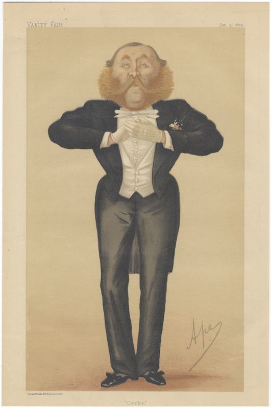 "Chromolithographic portrait by Ape (Carlo Pellegrini 1839-1889) entitled ""Cotillon"" DANCE, Augustus Savile Lumley."