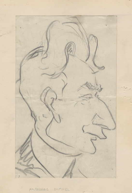 Original caricature in pencil of the German-born American tenor and impresario Andreas Dippel (1866-1932). Enrico CARUSO.