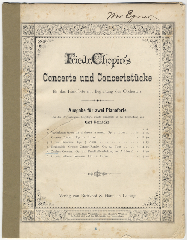 [Op. 21, arr]. Zweites Concert. Op. 21. F moll (Bearbeitung von A. Horn) [Pr.] M 8 Pf 50. [Pianoforte II part only (= reduction of orchestral score)]. Frédéric CHOPIN.