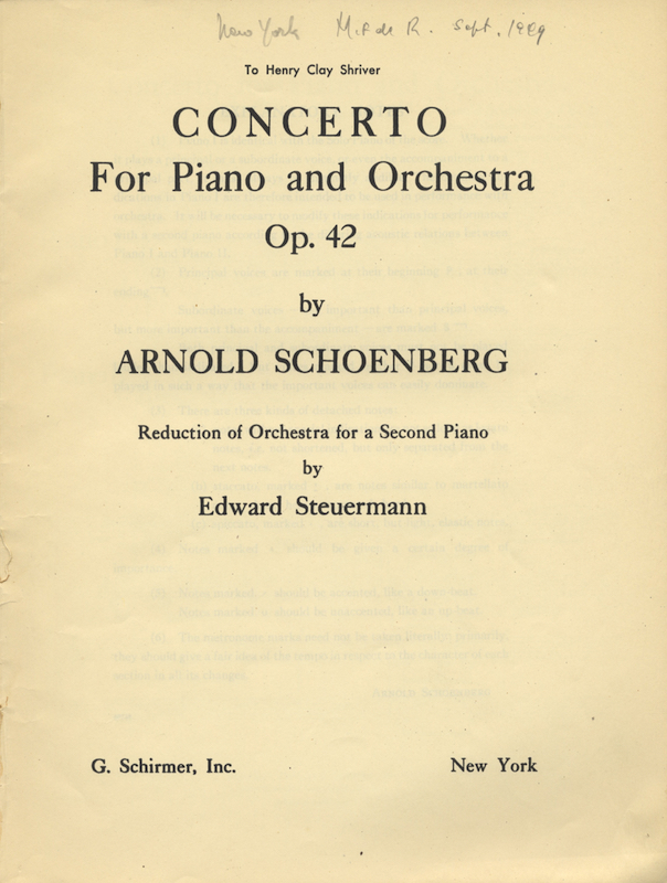 [Op. 42]. Concerto For Piano and Orchestra Op. 42... Reduction of Orchestra for a Second Piano by Edward Steuermann. Arnold SCHOENBERG.
