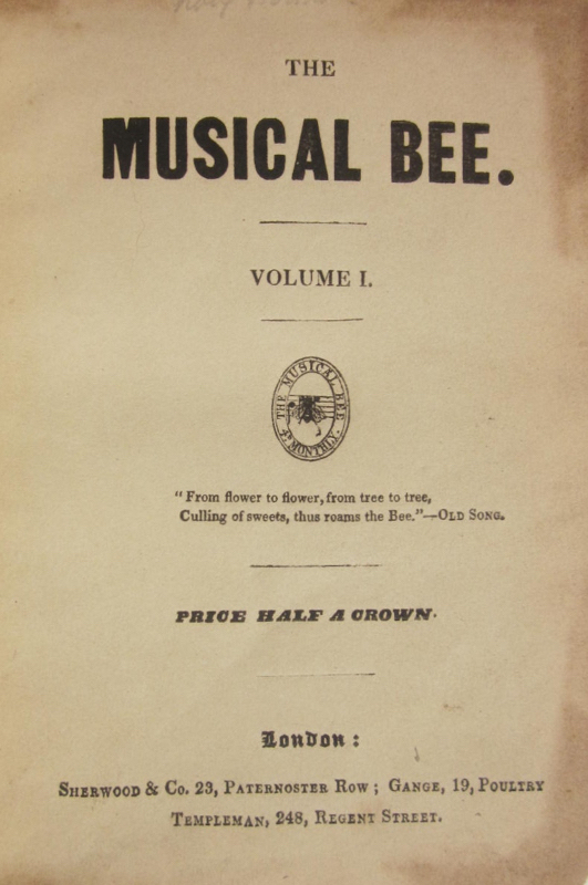 The Musical Bee. Volume 1[-5]. PERIODICAL - 19th Century - English.