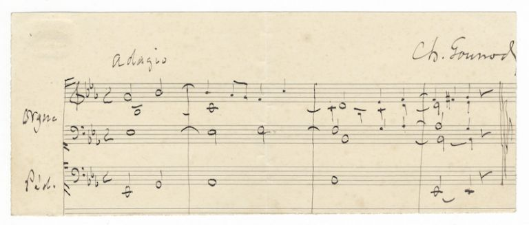 """Autograph musical quotation signed """"Ch. Gounod"""" Charles GOUNOD."""
