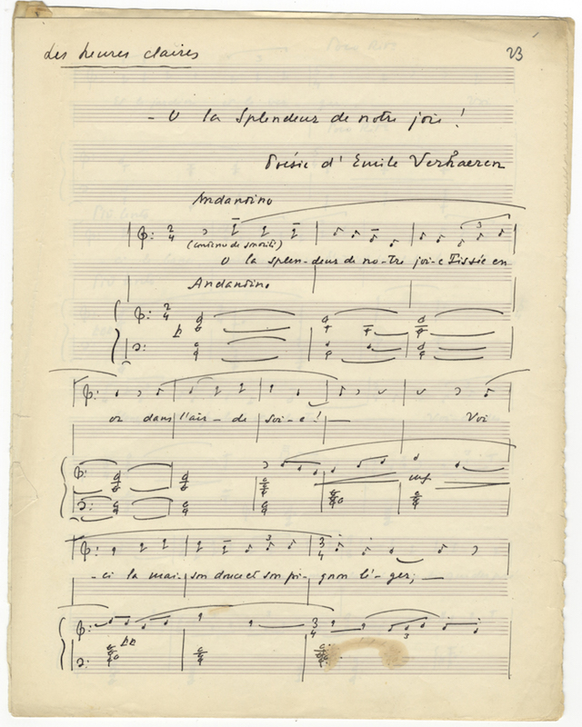"Les heures claires; Spleen. Autograph musical manuscripts of two songs, both signed ""RL."" Raoul LAPARRA."