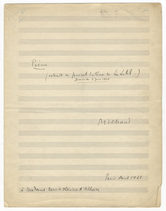 "[Op. 73]. Poème (extrait du Journal Intime de Léo Latil. Dimanche 2 Juin 1912). Wrappers with titling in the composer's hand, signed ""Milhaud,"" and dated ""Paris Aout 1921,"" with dedication ""à Madame Olénine d'Alheim"" to lower left corner. Darius MILHAUD."