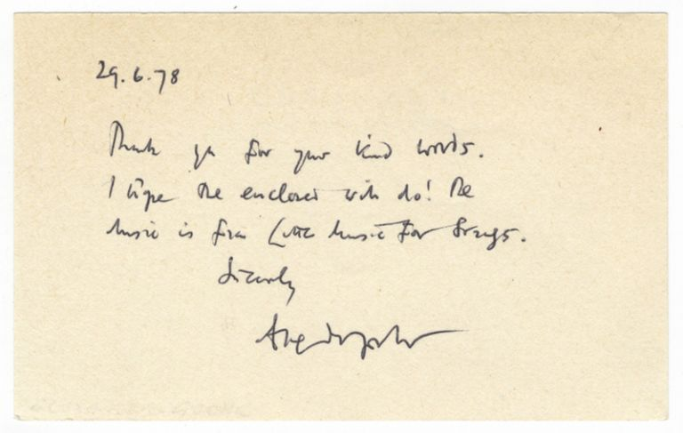 Autograph note signed to an unidentified correspondent. Alexander b. 1932 GOEHR.