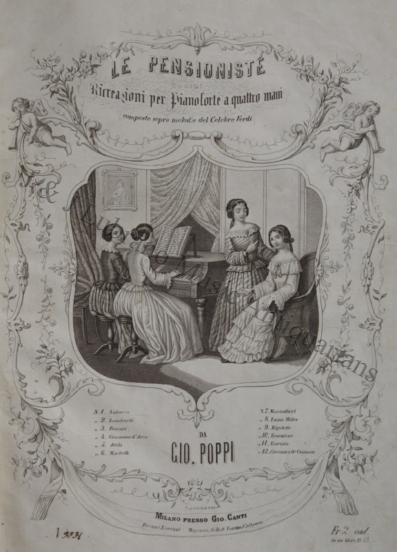Italian album of 19th century music for piano in both two- and four-hand arrangements of works by Verdi , Bellini and Petrella. PIANO MUSIC - 19th Century - Italian.
