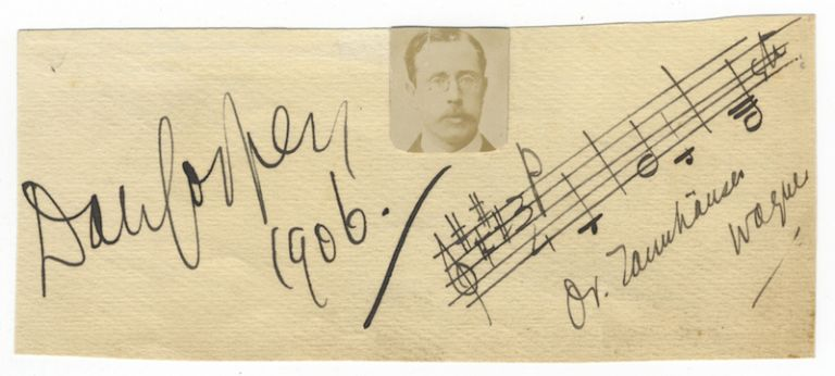 Autograph musical quotation notated, signed, and dated 1906. Sir Dan GODFREY.