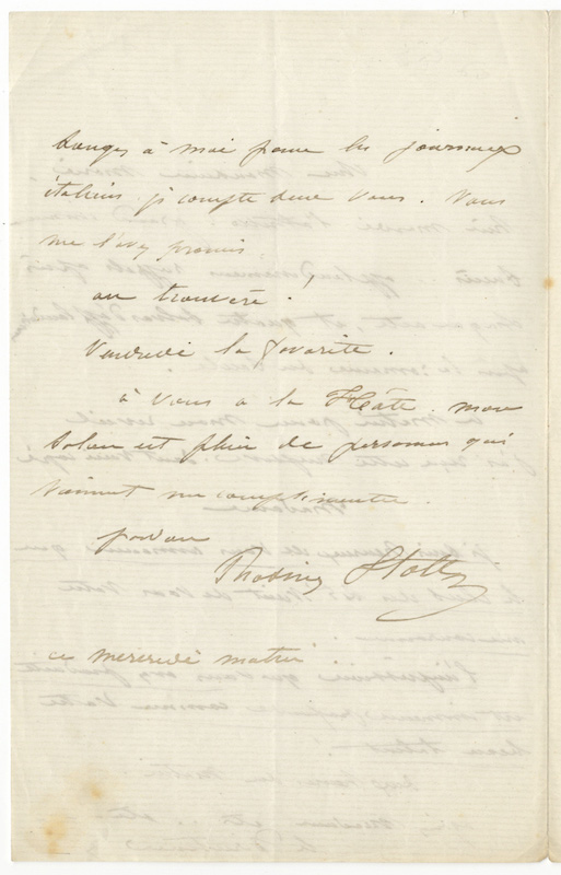 "Autograph letter signed in full to ""Monsieur Marie [?Escudier]"" Rosine STOLTZ."