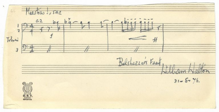 "Autograph musical quotation signed ""William Walton"" Sir William WALTON."
