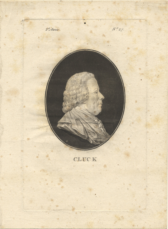 Aquatint portrait engraving, Paris, ca. 1781, possibly derived from the St. Aubin portrait. Christoph Willibald GLUCK.