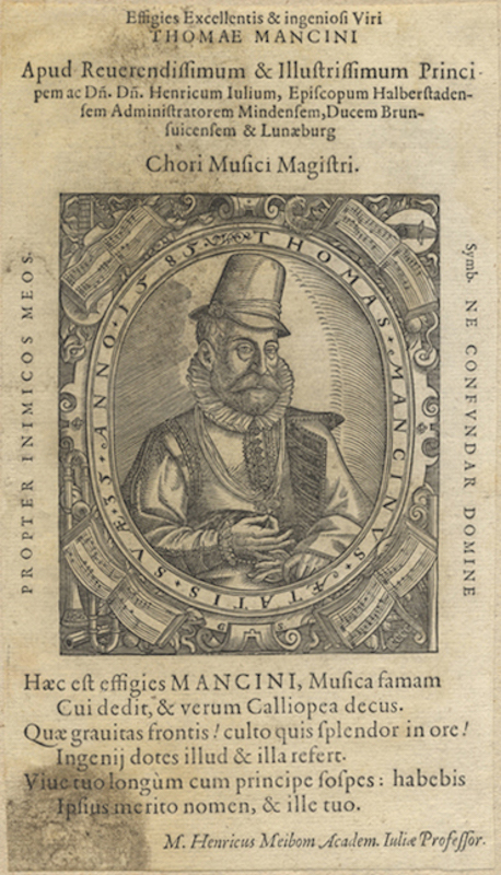 Half-length woodcut portrait, ca. 1612. Thomas MANCINUS, /12.