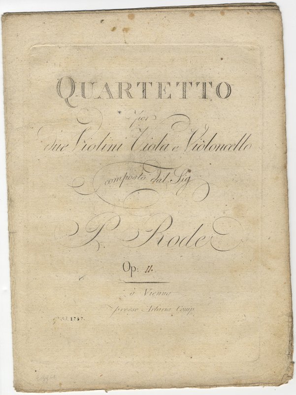 [Op. 11]. Quartetto [in E-flat major] per due Violini Viola e Violoncello... Op: [11.] [Parts, with manuscript additions]. Pierre RODE.