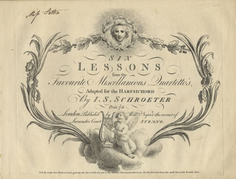 Six Lessons from the Favourite Miscellaneous Quartetto's, Adapted for the Harpsichord... Price S7:6. Johann Samuel SCHROETER.