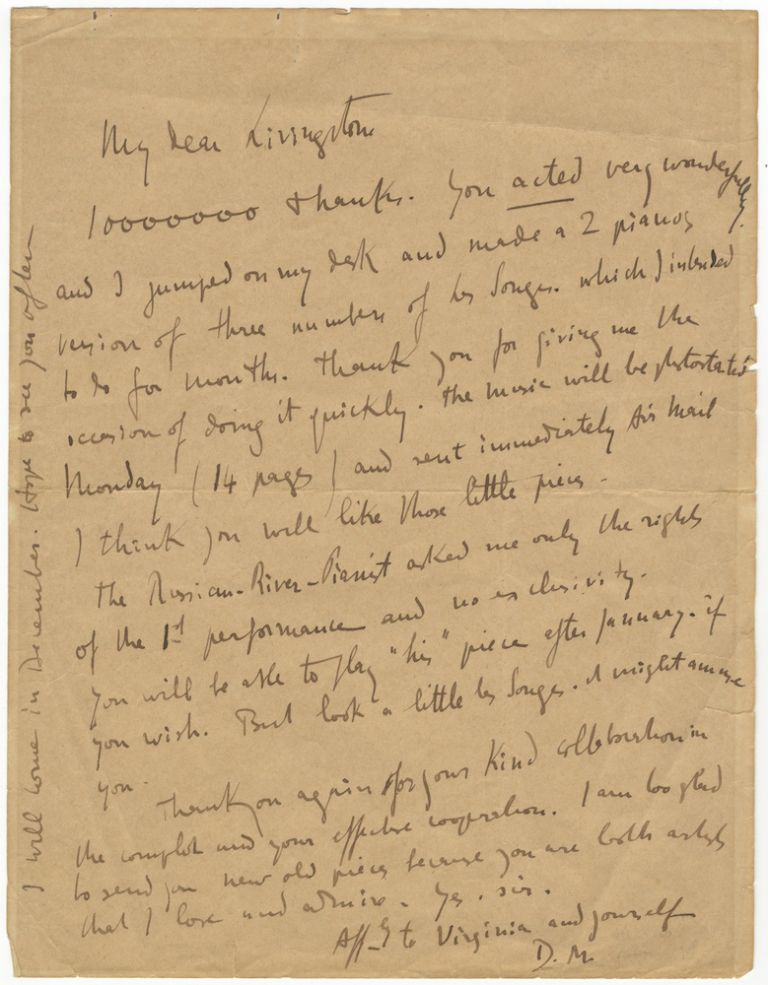 "Autograph letter signed ""D.M."" to the American pianist, educator, composer, and arranger Livingston Gearhart. Darius MILHAUD."