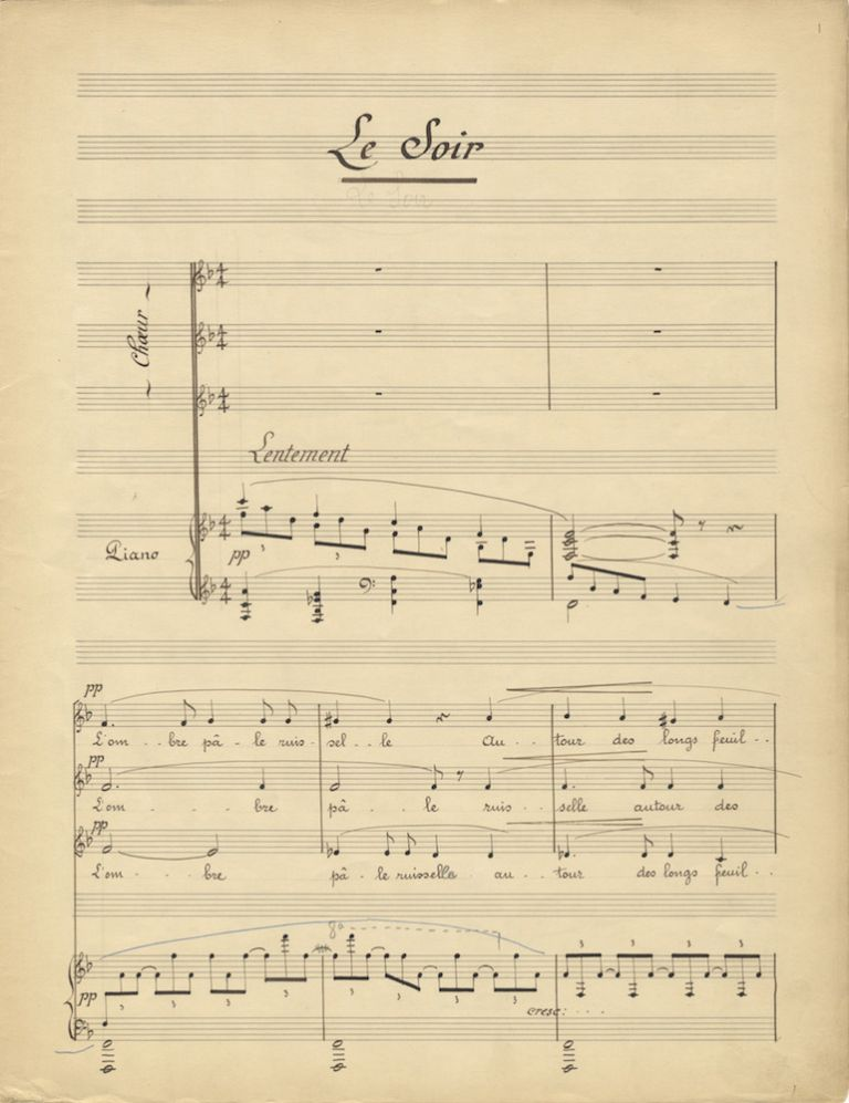 """""""Deux choeurs pour voix égales Poésie de Max Hermant... A Monsieur Walter Damrosch."""" Copyist's manuscript of """"Le Soir"""" and """"Printemps."""" Signed and dated by the composer and with his autograph corrections, both dynamic and notational. Jean ROGER-DUCASSE."""