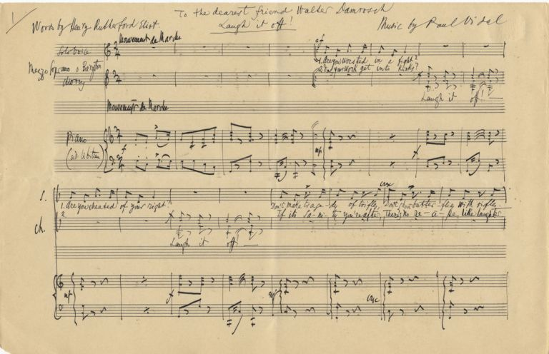 """""""Laugh it off!"""" and The Manger Song of Mary. Autograph musical manuscripts of two complete songs. Signed in full. Paul VIDAL."""