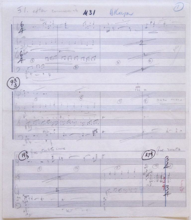 "Autograph musical manuscript for an unidentified film. Signed ""B. Kaper"" Bronisław KAPER, Bronislau."