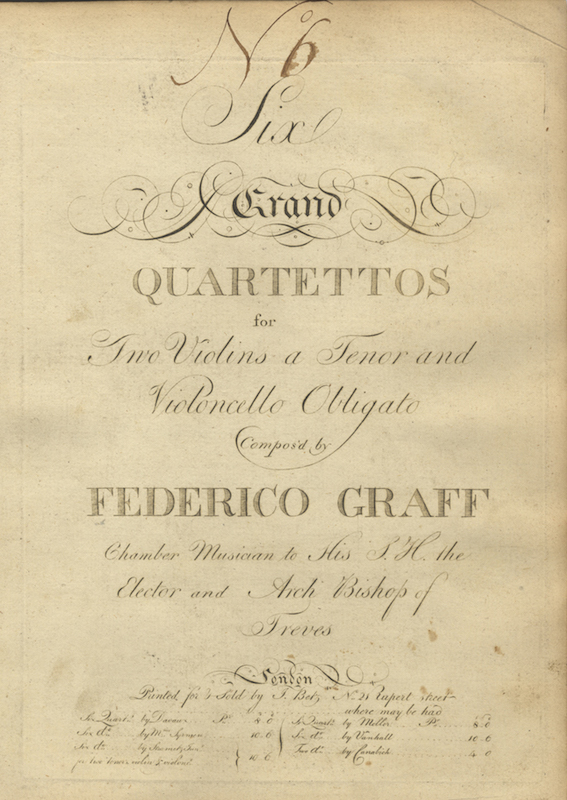 Six Grand Quartettos for Two Violins a Tenor and Violoncello Obligato Compos'd by Federico Graff. [Parts]. Friedrich Hartmann GRAF.