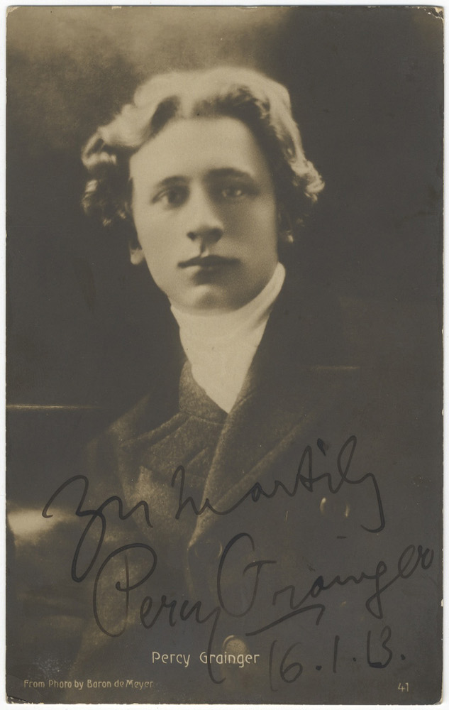 """Bust-length portrait of the young Australian-American composer and pianist signed, inscribed """"Yours heartily Percy Grainger,"""" and dated January 16, [19]13 in ink at lower margin. Percy GRAINGER."""