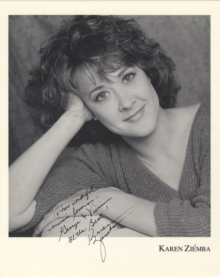 "Bust-length photograph of the noted American singer, actress, and dancer signed in full and inscribed ""To two wonderful music lovers – George & Vivian All the Best! Karen Ziemba"" Karen b. 1957 ZIÉMBA."