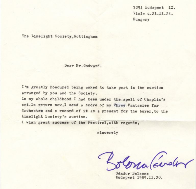 Typed letter signed in purple ink to Mr. B.A. Godward of the Limelight Society in Nottingham. Sándor b. 1935 BALASSA.