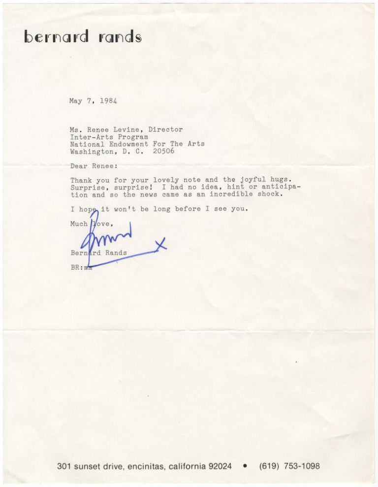 "Typed letter signed ""Bernard"" to the noted music administrator and author Renée Levine Packer. Bernard 1934- RANDS."